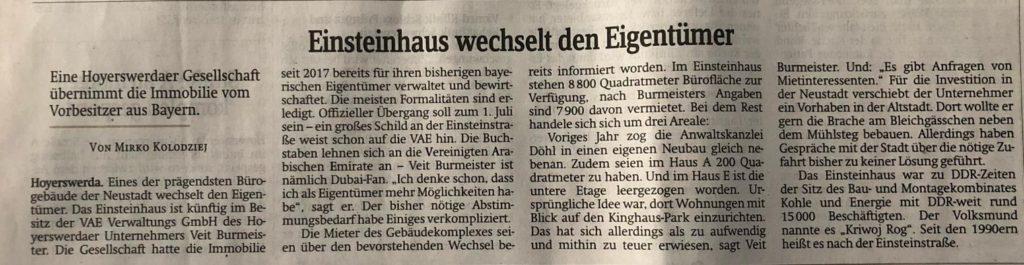 Eigentümer Einsteinhaus Hoyerswerda Veit Burmeister